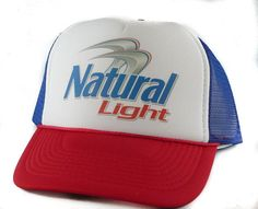 Natural Light beer hat Trucker Hat Mesh Hat  Snap by MESHHATCOM