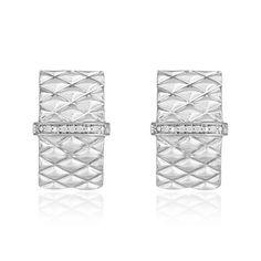 Brinco Arquitetura Trama - Brinco em prata com 8 pontos de diamantes Arquitetura Trama / Vivara