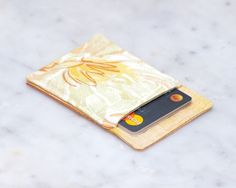 New to Chockrosa on Etsy: OOAK Thin wallet - Minimalist wallet - Business card holder - Business card case - Slim card wallet - Women and men - Orange Yellow