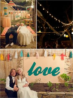 Very cool backyard wedding with interesting decor and colors.