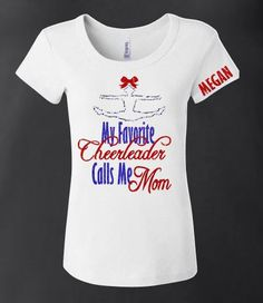 Show support for your favorite cheerleader with this cute shirt. The words are in your choice of glitter colors with a cheerleader doing a toe touch on top wear