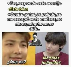 Read from the story MEMES DE BTS 4 by Ktxebae (𝐮𝐰𝐮) with reads. Bts Taehyung, Bts Jungkook, Kpop Memes, Funny Memes, Memes Chinos, Army Memes, Vkook, Bts Chibi, Foto Bts