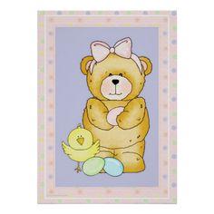 Chubby Cubby Teddy Bear Easter Holiday Poster d3