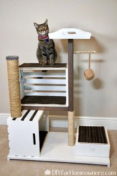 DIY Cat Tower - Mother Daughter Projects with built in storage for cat toys. Diy Jouet Pour Chat, Diy Cat Tower, Homemade Cat Tower, Cat House Diy, Cat Towers, Cat Enclosure, Pet Furniture, Furniture Buyers, Farmhouse Cat Furniture