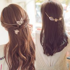New Arrival Butterfly Leaves Hair Chain Jewelry Fashion Accessories Gold Rose-Gold Metal Leaf Butterfly Hair Clip for Women