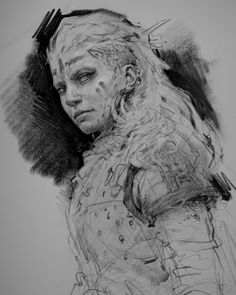 viking woman 11 by aaron griffin Spectrum The Best in Contemporary Fantastic Art Viking Art, Viking Warrior, Viking Woman, Woman Sketch, Woman Drawing, Viking Face Paint, Aaron Griffin, Viking Drawings, Viking Series