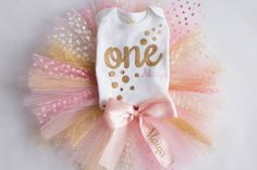 Pink and Gold Outfit - Gold Glitter Birthday Outfit - Baby Girl ...
