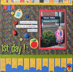 1st day of school scrapbook page, doodlebug kindergarten back to school scrapbooking layout,