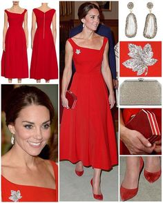 After donning a causal-chic look in the rainforest earlier in the day, the Duchess was the epitome of elegance and glamour as she and William were guests of honour at the evening reception at Government House, the most formal event on the tour.  Kate opted for this stunning 50's inspired dress by Preen by Thornton Bregazzi which showed off her toned arms. The 'Finella' silk midi dress retails for £833/$1,715 and features an asymmetric neckline and pockets. The dress also comes in black and…