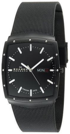 Skagen Men's 396LTMB Titanium Watch Skagen. $110.00. Titanium case; Black dial. Water-resistant to 99 feet (30 M). Case diameter: 36 mm. Quality Japanese-Quartz movement. Super-hardened-mineral crystal