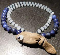 Kette necklace Sodalith Sodalite Treibholz driftwood Goldfluss