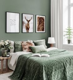 Gallery Wall Inspiration - Shop your Gallery Wall Bedroom Green, Bedroom Colors, Home Bedroom, Master Bedroom, Bedroom Decor, Bedroom Color Schemes, Bedrooms, Gallery Wall Bedroom, Inspiration Wall
