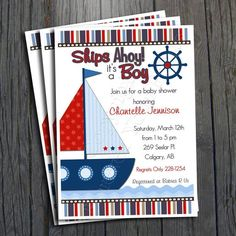 Nautical Baby Shower Invitation - FREE Thank You Card included. $15.00, via Etsy.