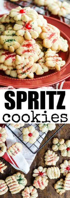 My mom's classic Spritz cookies recipe is the only one you need! These tiny cookies are crunchy, buttery, and perfect with a sprinkle of colored sugar. Spritz Cookies, Filled Cookies, No Bake Cookies, Easy Spritz Cookie Recipe, Shortbread Cookies, Cookie Desserts, Cookie Recipes, Dessert Recipes, Party Recipes