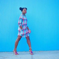"""#BGKI #blackandkillingit #teamBGKI @Regrann from @queenoyinkan -  Pre Fashion Week fun  on Befittingstyle.com #befittingstyle #plaidshirtdress #schutz…"""