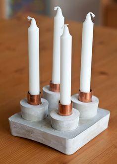 WOHN:PROJEKT - der Mama Tochter Blog für Interior, DIY, Dekoration und Kreatives : DIY/WEIHNACHTEN: Ein Adventkranz aus Beton mit Kupfer-Muffen oder ein Kerzenständer mit Zusatznutzen