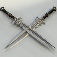 Triple bladed swords