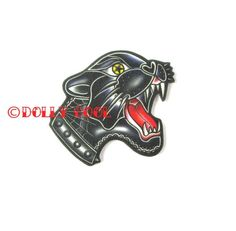 Panther Brooch - Old School Tattoo - by Dolly Cool - Old School Flash - Vintage Style - Black Panthe Leopard Print Hair, Red Leopard, Big Cat Tattoo, Vintage Style, Vintage Fashion, Cat Tattoo Designs, Vintage Flash, Tattoo T Shirts, Black Panther