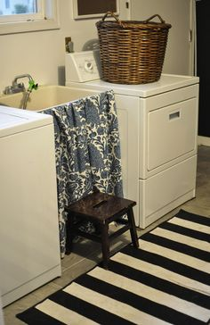 Even a plain wash sink looks cute with this fabric skirt - great idea.