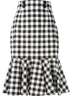 Black and white cotton check ruffle skirt from Dolce & Gabbana featuring a high waist, a front button fastening, a rear zip fastening and a ruffled hem. by farfetch African Fashion Dresses, African Dress, Skirt Pants, Dress Skirt, Sheath Dress, Waist Skirt, Midi Skirt, Modest Fashion, Fashion Outfits