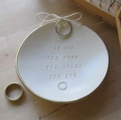 ring bearer bowl    custom: 'Two hands, one heart, Till death us part.'