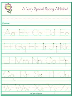 Alphabet handwriting worksheets letter A to Z in standard block or modern manuscript handwriting for preschool through first-grade. April Preschool, Preschool Writing, Preschool Letters, Preschool Printables, Preschool Worksheets, Preschool Ideas, Free Printable, Kids Learning Activities, Fun Learning