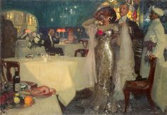 In The Restaurant by Charles Hoffbauer, 1907