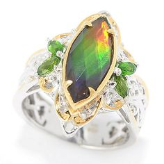 154-505 - Gems en Vogue 15 x 6mm Ammolite Triplet & Chrome Diopside Marquise Ring