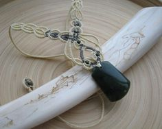 Green agate macrame necklace yellow necklace micro macrame