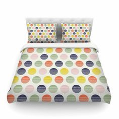 Rainbow Dots Vector by Gukuuki Featherweight Duvet Cover