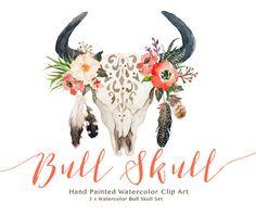 Watercolor bull skull set/Wedding/Clip art by GraphicSafari