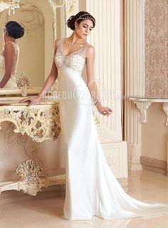 Robe de mariée mderne col en v satin élastique dos magnifique [#ROBE209946] - robedumariage.com