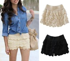Lace Tiered Short Skirt Pants