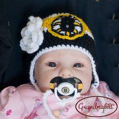 BOSTON BRUINS Baby Girls Hockey Pacifier & Helmet by Grandmabilt, $35.00