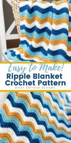 Crochet Ripple Blanket, Granny Square Crochet Pattern, Afghan Crochet Patterns, Crochet Blankets, Free Baby Blanket Patterns, Manta Crochet, Crochet Baby, Free Crochet, Crochet Crafts