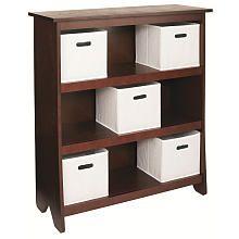 Imaginarium Bookcase with 5 Fabric Bins - Espresso