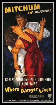 "Where Danger Lives FRIDGE MAGNET Movie Poster 9x17"" Robert Mitchum Canvas Print"