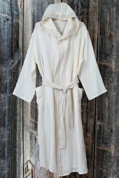 71ce483443 BATHROBE off white or natural gray linen hooded by LinumStudio
