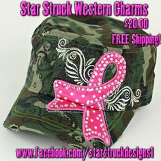 $20.00***FREE SHIPPING in the U.S.*** New Distressed Camo PINK RIBBON Cadet Cap with Clear Crystals. It has a ponytail hole and is adjustable.