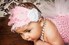 Stunning Nagorie Goose Feather Headband Newborn by BellaBowsBoutiq, $15.00