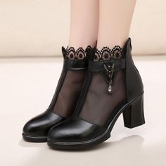 Chunky Heel Zipper Round Toe Elegant Boots The clothing culture is fairly old. Buy Boots, Shoe Boots, Winter Fashion Boots, Fashion Shoes, Lace Up Heels, Pumps Heels, Bean Boots Style, Chunky Heels Outfit, Chunky Heel Boots