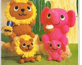 wooly woodlings  lion and elephant vintage toy knitting patten PDF instant download
