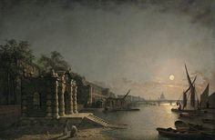 York Watergate and the Adelphi from the River, London, by Moonlight by Henry Pether Date painted: 1841–1860
