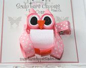 Woot Woot Wise Pink Owl Ribbon Sculpture Bow. Bird Owl Ribbon Clip.