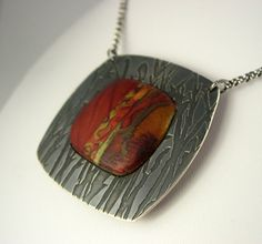 Polymer Clay and Etched Sterling by metalartiste, via Flickr