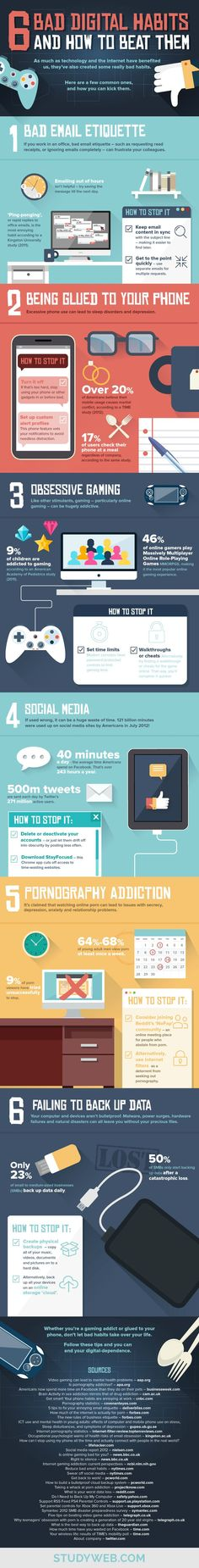 6 Bad Digital Habits (And How To Beat Them) - #infographic #email #internet