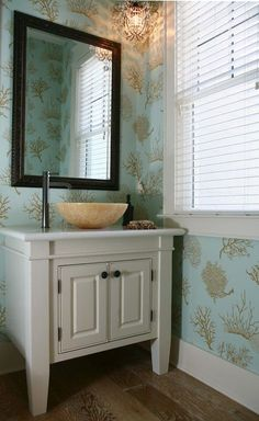 Tropical Powder Room with interior wallpaper, Wall sconce, Crystal Chandelier, Vessel faucet, Powder room, Corian counters