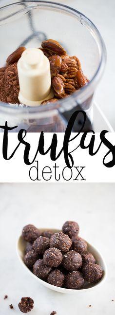 Receta de trufas tan sanas que hasta las puedes comer en días de detox. Están hechas con nuez, dátil y chocolate.