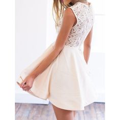 Beige Sheer Crochet Lace Panel Sleeveelss Layered Skater Dress (335 CNY) ❤ liked on Polyvore featuring dresses, sheer dress, beige skater dress, pink dress, pink skater dress and sheer-panel dresses