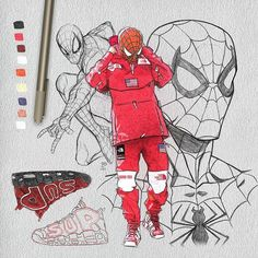 ✏@johnnyyrobinson - Supreme x Tnf - johnnys Referenced pic drawn as Spider-Man. Tag a friend with cool pics and make sure you follow to check if I choose you! #illustration #supreme #northface #sketch #supremeny #sketchbook #draw #hypebeast #spiderman #kenr0ck